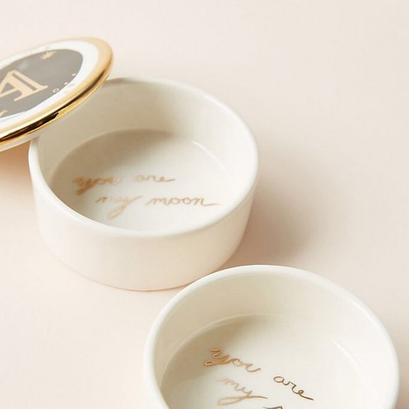Anthropologie Lyra Monogram Trinket Dish Letter A
